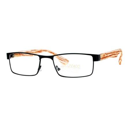 SA106 Mens Minimal Narrow Rectangular Metal Rim Wood Grain Arm Eyeglasses Black (Eyeglasses Arms)