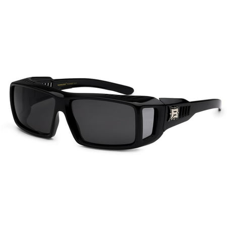 POLARIZED Cover Put Over Sunglasses Wear Rx glass fit driving MEDIUM UV, Black - Uv Halloween Contact Lenses