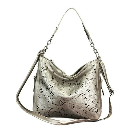 Laser Cut Hobo fashion Concealed Carry Purse Faux Leather Hobo Bag Pewter