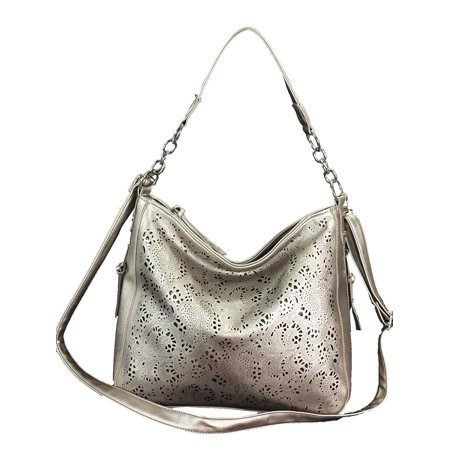 Leather Concealed - Laser Cut Hobo fashion Concealed Carry Purse Faux Leather Hobo Bag Pewter