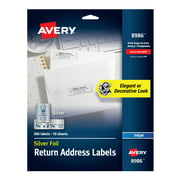 """Avery Foil Mailing Labels, Silver, 3/4"""" x 2-1/4"""", 300 Labels (8986)"""