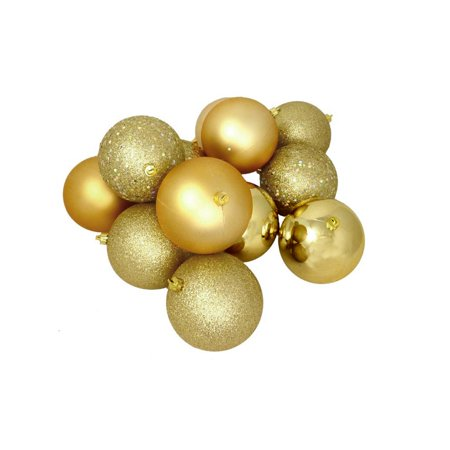 Vegas Halloween Ball (32ct Vegas Gold 4-Finish Shatterproof Christmas Ball Ornaments 3.25