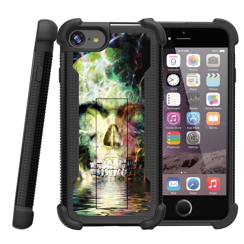 Apple iPhone 7 Case | iPhone 7 Defender Case [ ShockWave Armor] High Impact Dual Layered Case w/ Kickstand - Colorful Water Skull