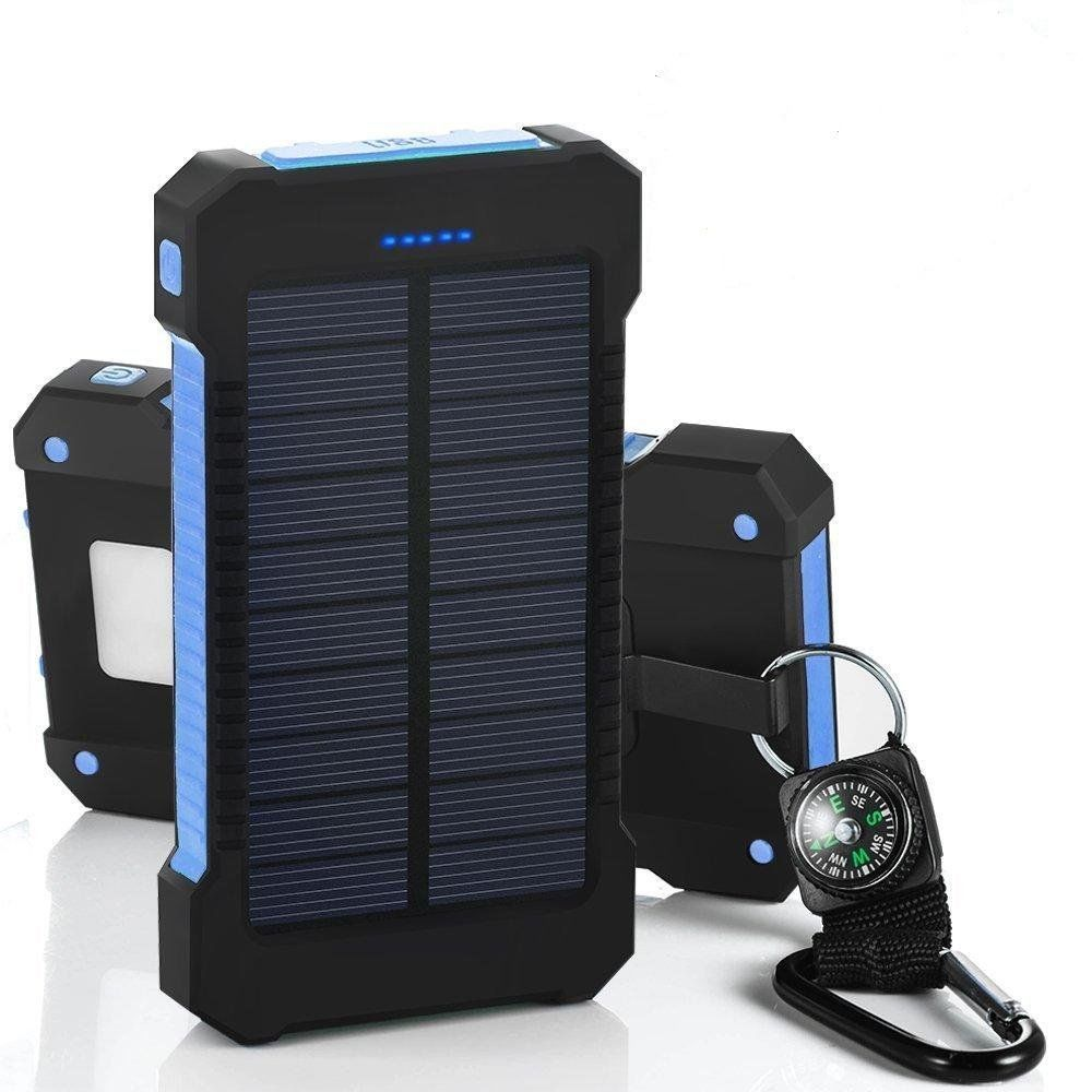 Solar Charger, Tagital 300,000mAh Solar Power Bank External Battery Pack with Dual USB Port LED Flashlight for iPhone, Samsung, Cellphones, iPad, Tablet, Camera, GPS and other USB Devices