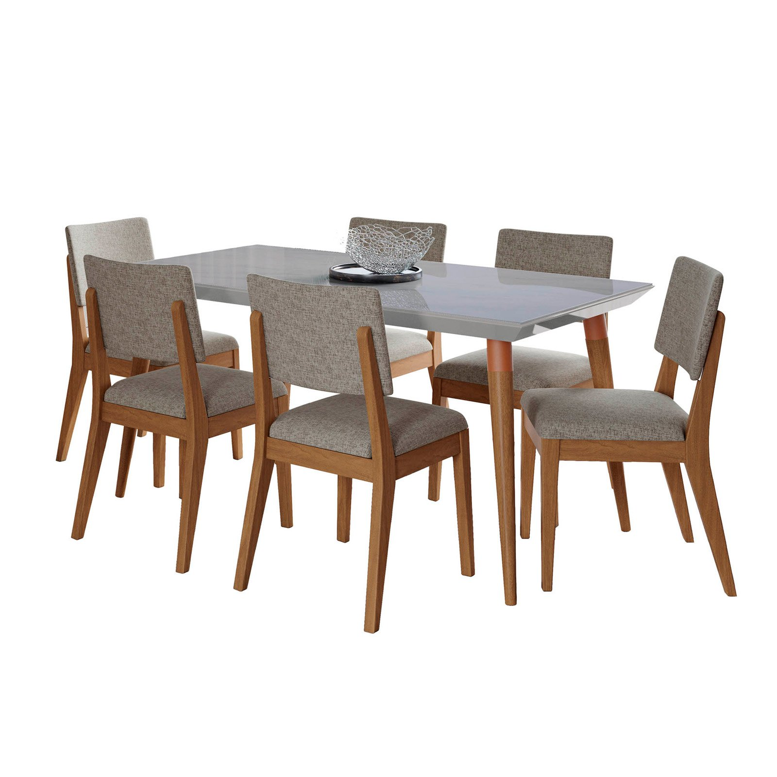 Manhattan Comfort Utopia and Dover 7 Piece Dining Table Set