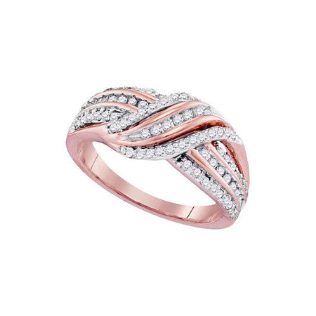 10kt Rose Gold Womens Round Diamond Crossover Striped Band Ring 1/2 Cttw