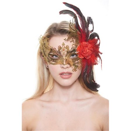 Majestic Gold Swan Laser Cut Masquerade Mask with Feathers & Red Flower Arrangement - One Size](Masquerade Masks Red)