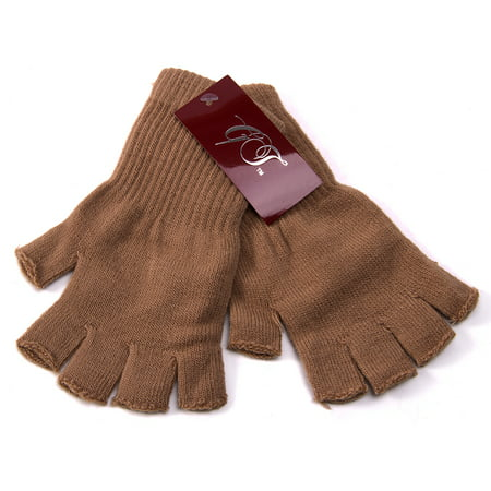 Gravity Threads Unisex Warm Half Finger Stretchy Knit Gloves](Long Blue Satin Gloves)