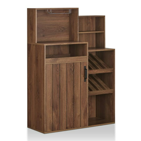 Furniture of America Dillan Rustic Bar Cabinet in Distressed Walnut