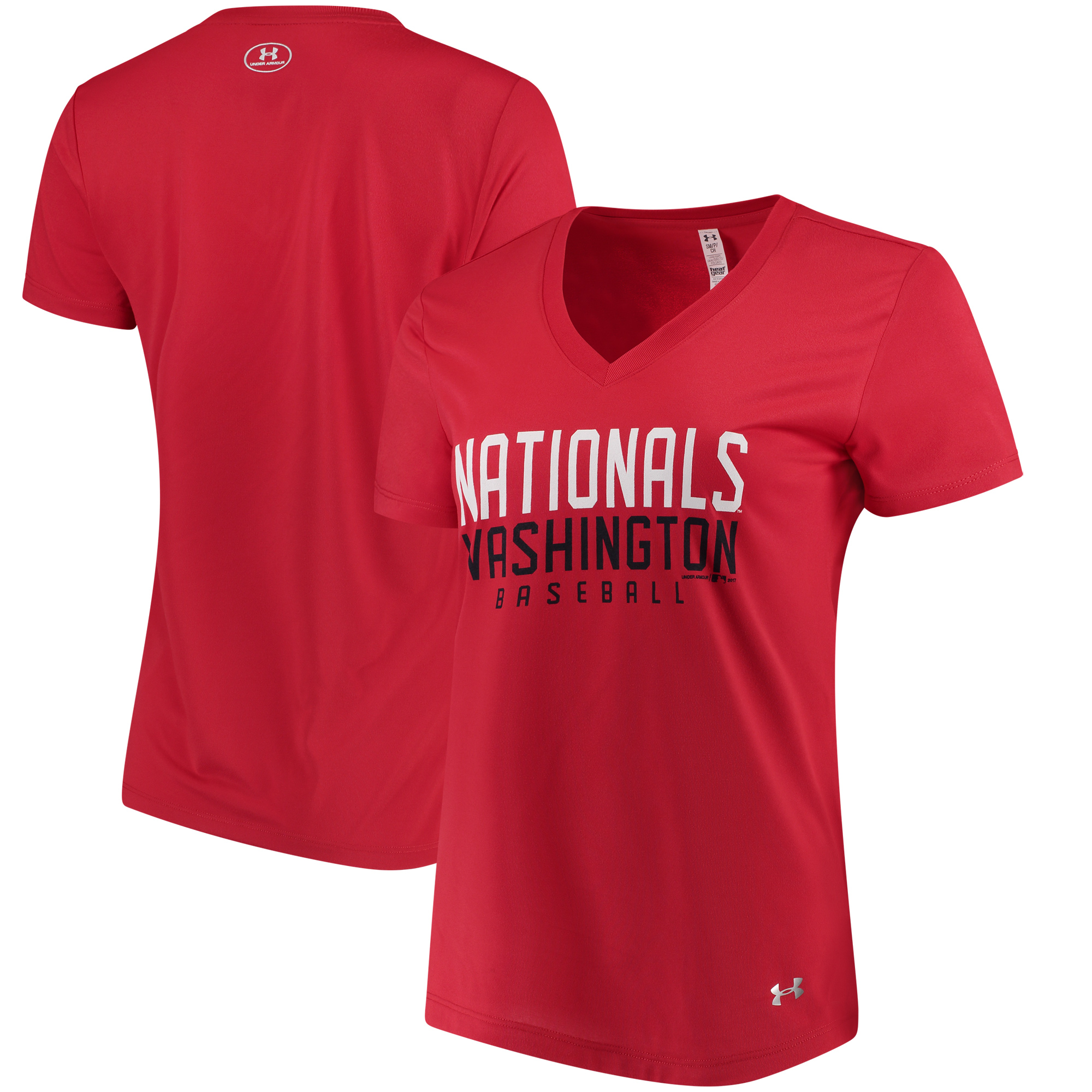 Women's Under Armour Red Washington Nationals Tech Performance V-Neck T-Shirt