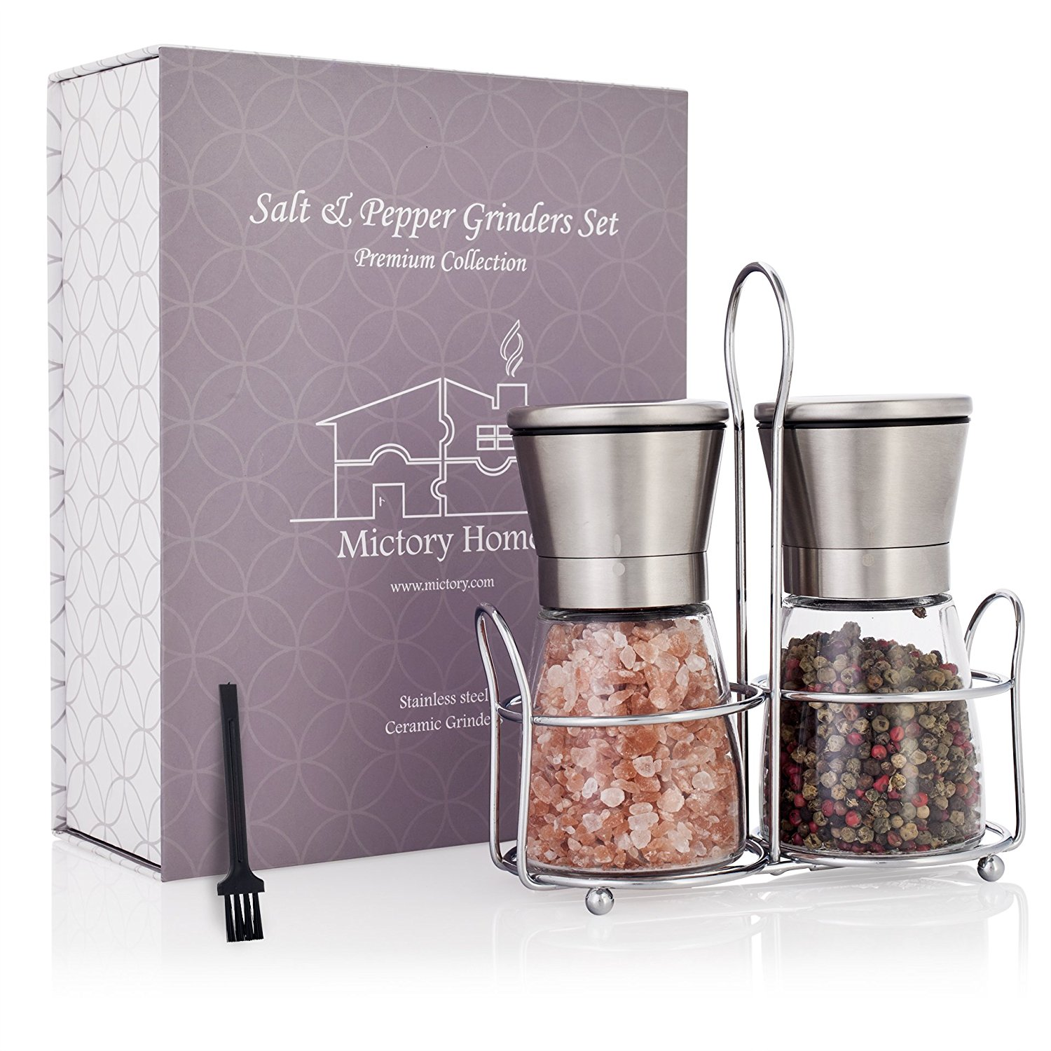 Luxury Salt and Pepper Grinder Set with Stand | Clear Gla...