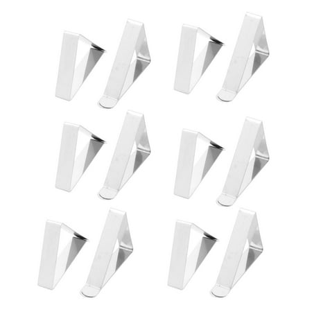 Wedding Banquet Metal Adjustable Table Cloth Holder Clip Clamp Silver Tone 12pcs - Tablecloth Clips