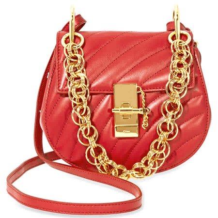7cec49f5287 Chloe - Chloe Mini Drew Bijou Quilted Leather Bag- Dahlia Red ...
