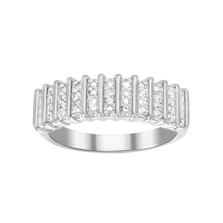 Cable Design Rhodium Plated Ring (Ladies Diamond Accent Straight Ribbed Design Ring in Rhodium Plated)