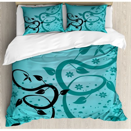 Teal Duvet Cover Set, An Abstract Floral Arrangement Nature Winding Tendrils Design Flora Drawing Style, Decorative Bedding Set with Pillow Shams, Turquoise Black, by Ambesonne