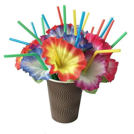 Beach Straw (20Pcs Mixed Hawaiian Hula Beach Party Cocktail Flower Drinking Straws )