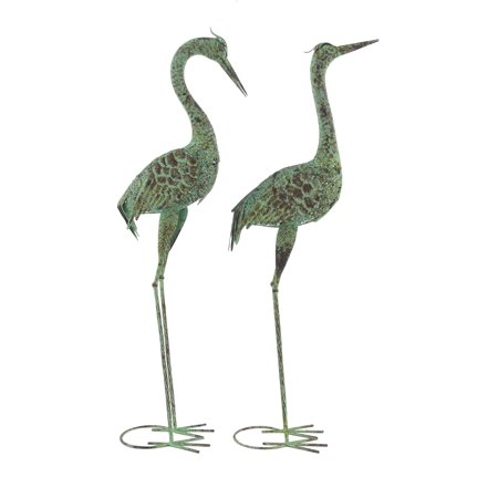 Decmode Eclectic 39 And 40 Inch Green Iron Crane Sculptures - Set of 2 ()