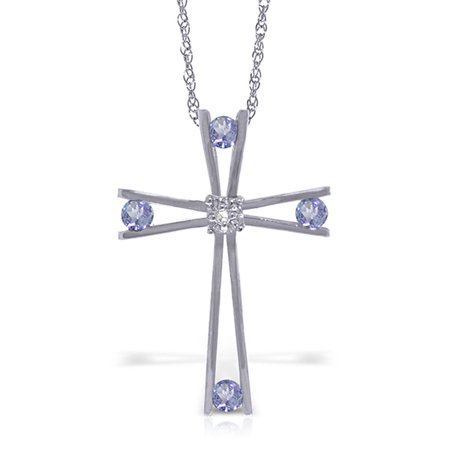 ALARRI 14K Solid White Gold Cross Necklace with Natural Diamond & Tanzanites with 20 Inch Chain Length.