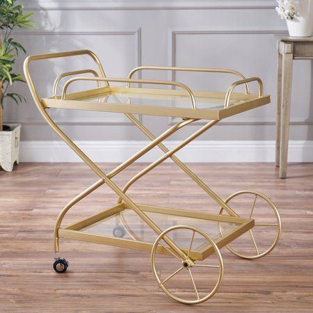 - Noble House Penny Indoor Traditional Iron and Glass Bar Cart, Gold
