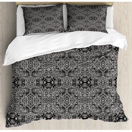 Dark Grey Duvet Cover Set Abstract Antique Pattern With Curves And