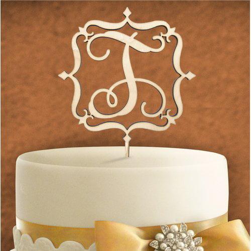 aMonogram Art Unlimited Square Frame Wooden Cake Topper