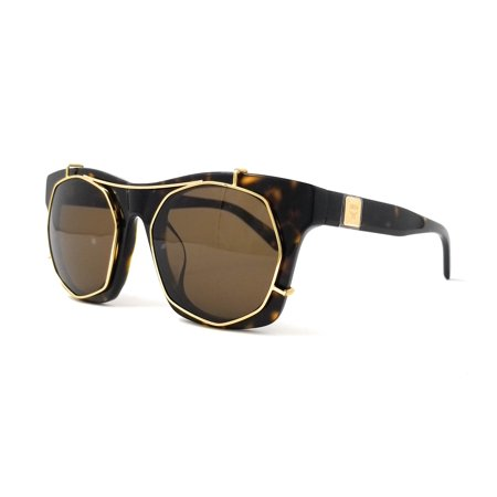 MCM Sunglasses MCM605SA 213 Havana-Shiny Gold Rectangular Women - 213 Sunglasses