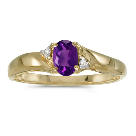 14k Yellow Gold Oval Amethyst And Diamond Ring Judith Ripka Amethyst Ring