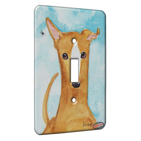KuzmarK™ Single Gang Toggle Switch Wall Plate - Fawn Greyhound The Fly Dog Art by Denise -