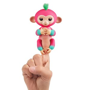 Fingerlings 2Tone Monkey - Melon (Bubblegum Pink with Green accents) - Interactive Baby Pet - By WowWee