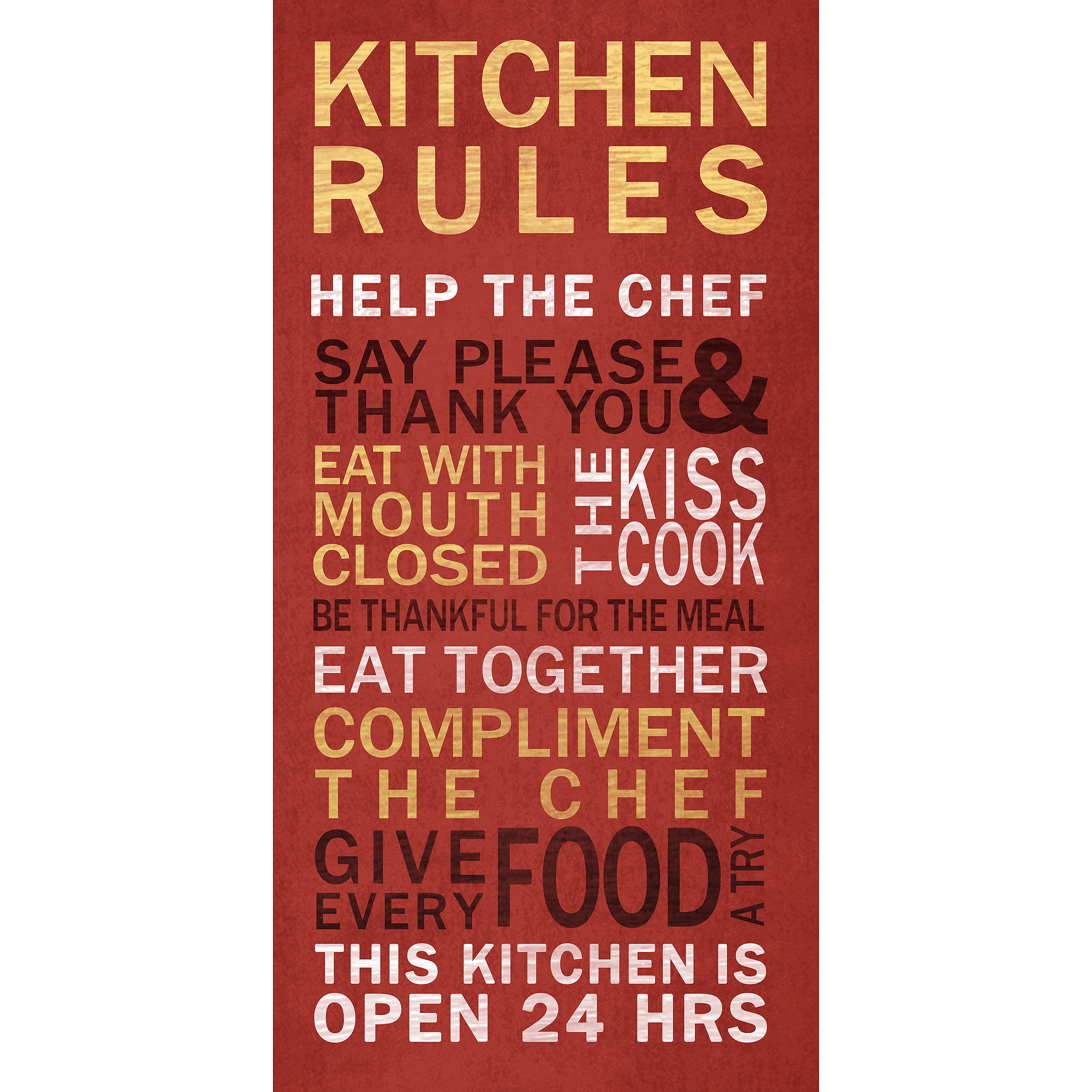 Kitchen Rules Wall Art   Walmart.com