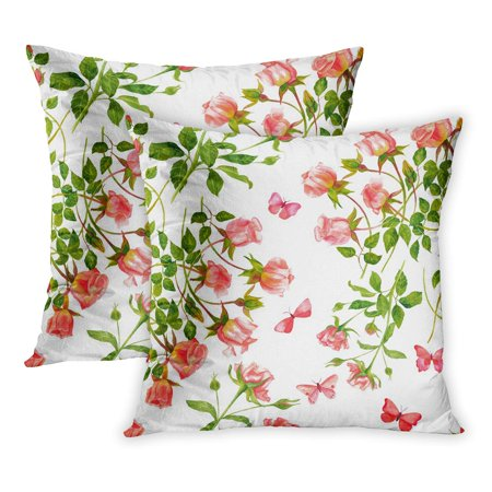 ECCOT Watercolor Beautiful Tender Pink Roses and Butterflies Pattern Green Color English Fragrance Light PillowCase Pillow Cover 20x20 inch Set of 2 (Fragrance Pillow)