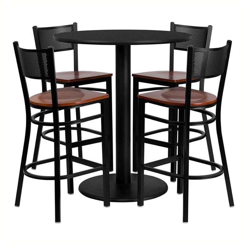 Flash Furniture 36'' Round Black Laminate Table Set with 4 Grid Back Metal Barstools, Cherry Wood Seat