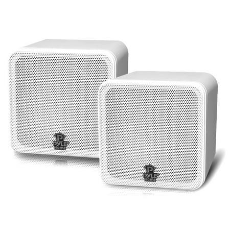 PYLE PCB4WT - 4'' 200 Watt White Mini Cube Bookshelf Speaker In White(Pair)