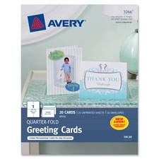 """Quarter-Fold Card, 4-1/4""""x5-1/2"""", 20 Cards/Env, White, Sold as 1 Package"""