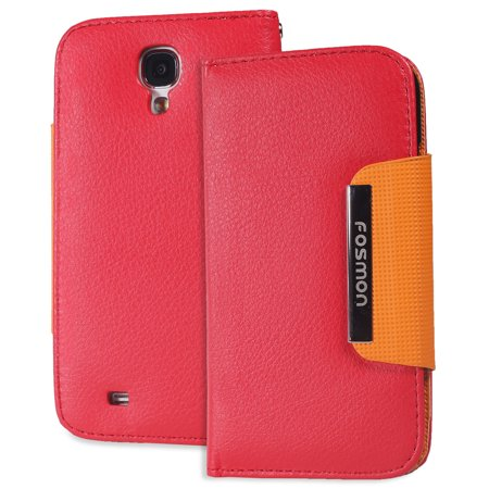 Red Wallet Magnetic Flip Purse PU Leather Case Pouch Samsung Galaxy S 4 S (Iv Leather)