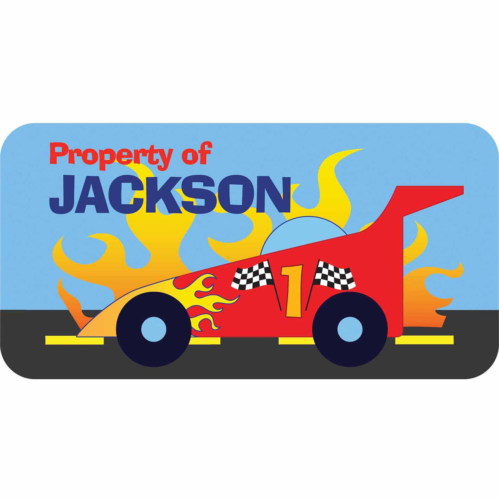 Personalized Kids Property Labels, Race Car