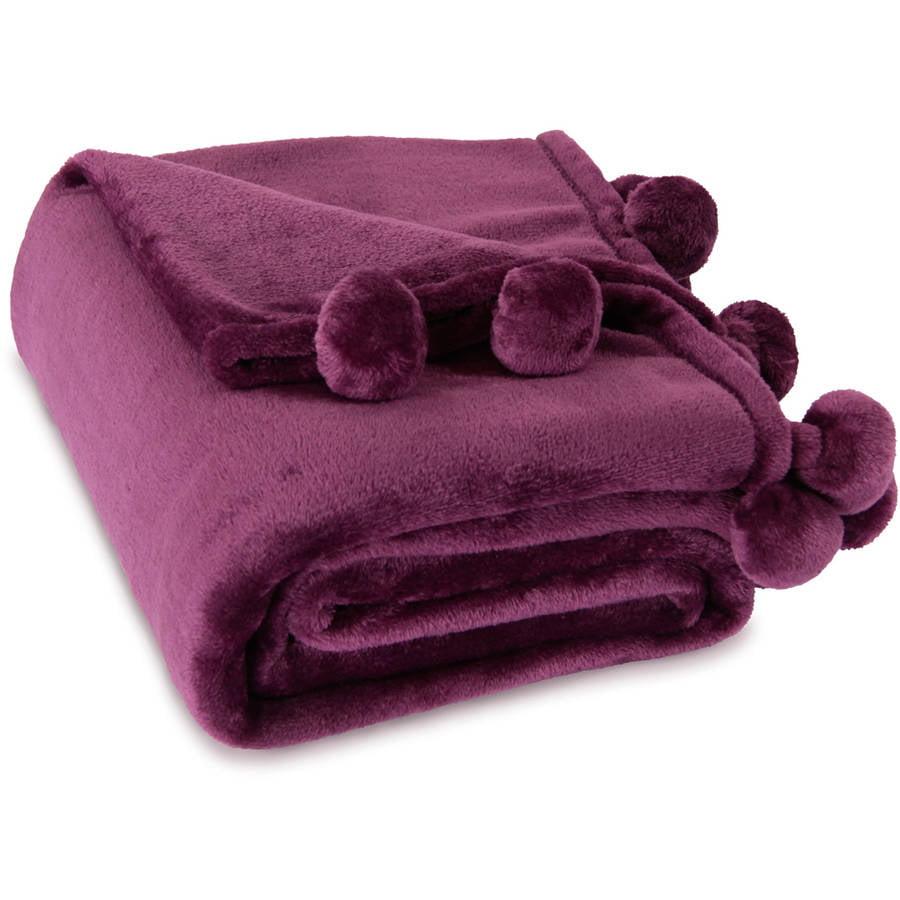 Mainstays Pompom Purple Oxford Throw, 1 Each