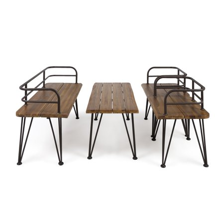 Zach Outdoor Industrial 4 Piece Acacia Wood Chat Set with Iron Frame, Teak Finish and Rustic Metal Finish