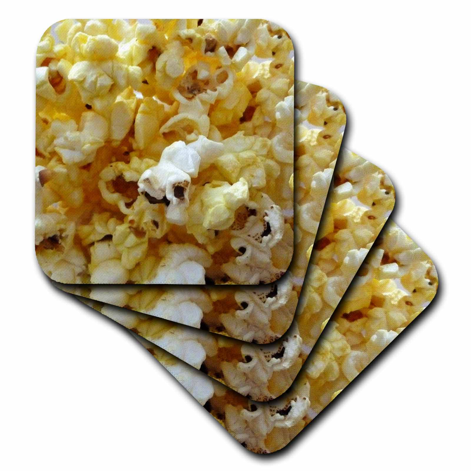 3dRose Popcorn, Ceramic Tile Coasters, set of 4