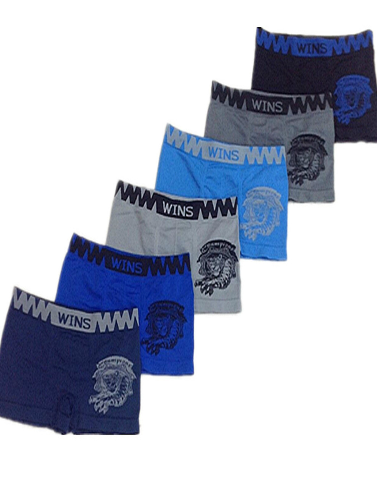 "Boys 6-Pack Seamless Assorted Colors ""Tiger"" Boxer Briefs - Small"