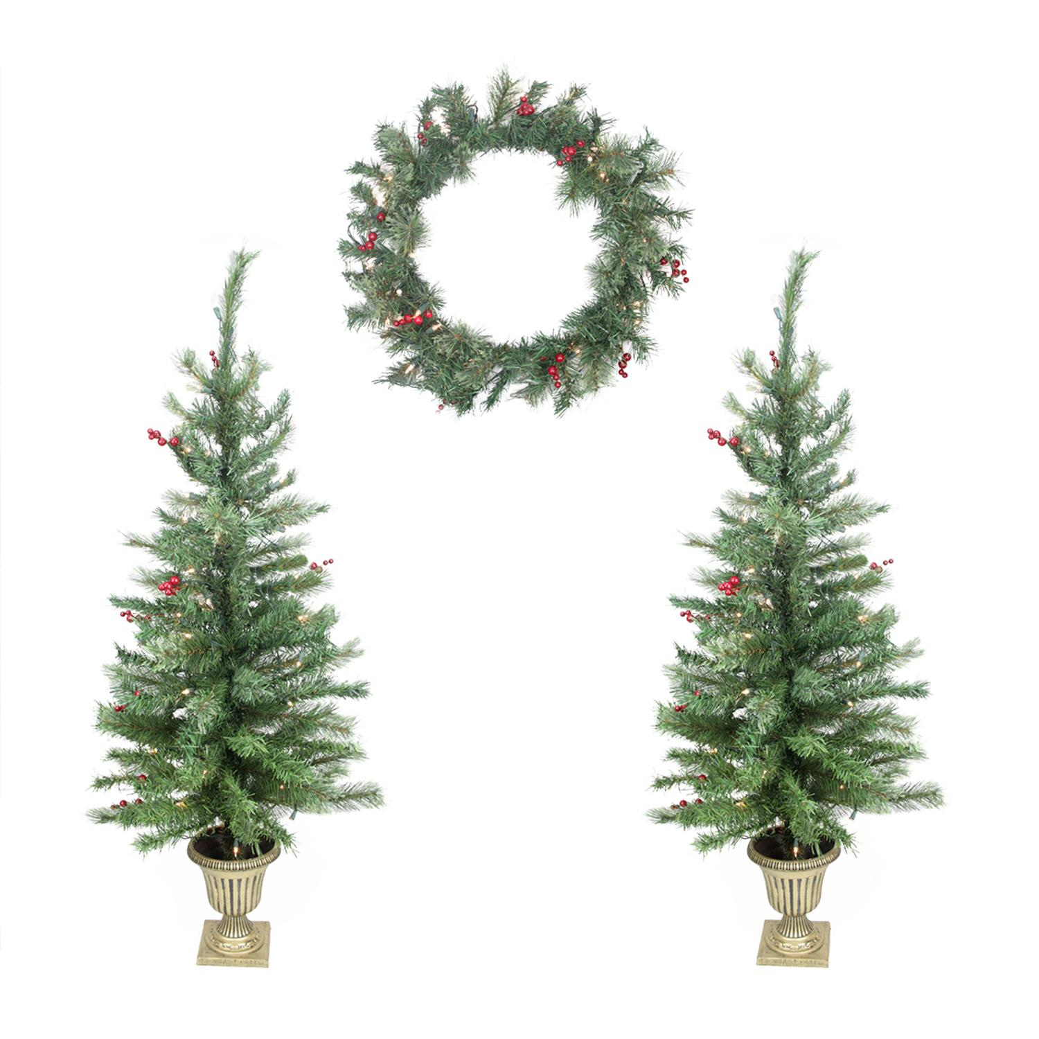 Set of 4 Red Berry Pine Artificial Christmas Trees and Wreath - Clear Lights