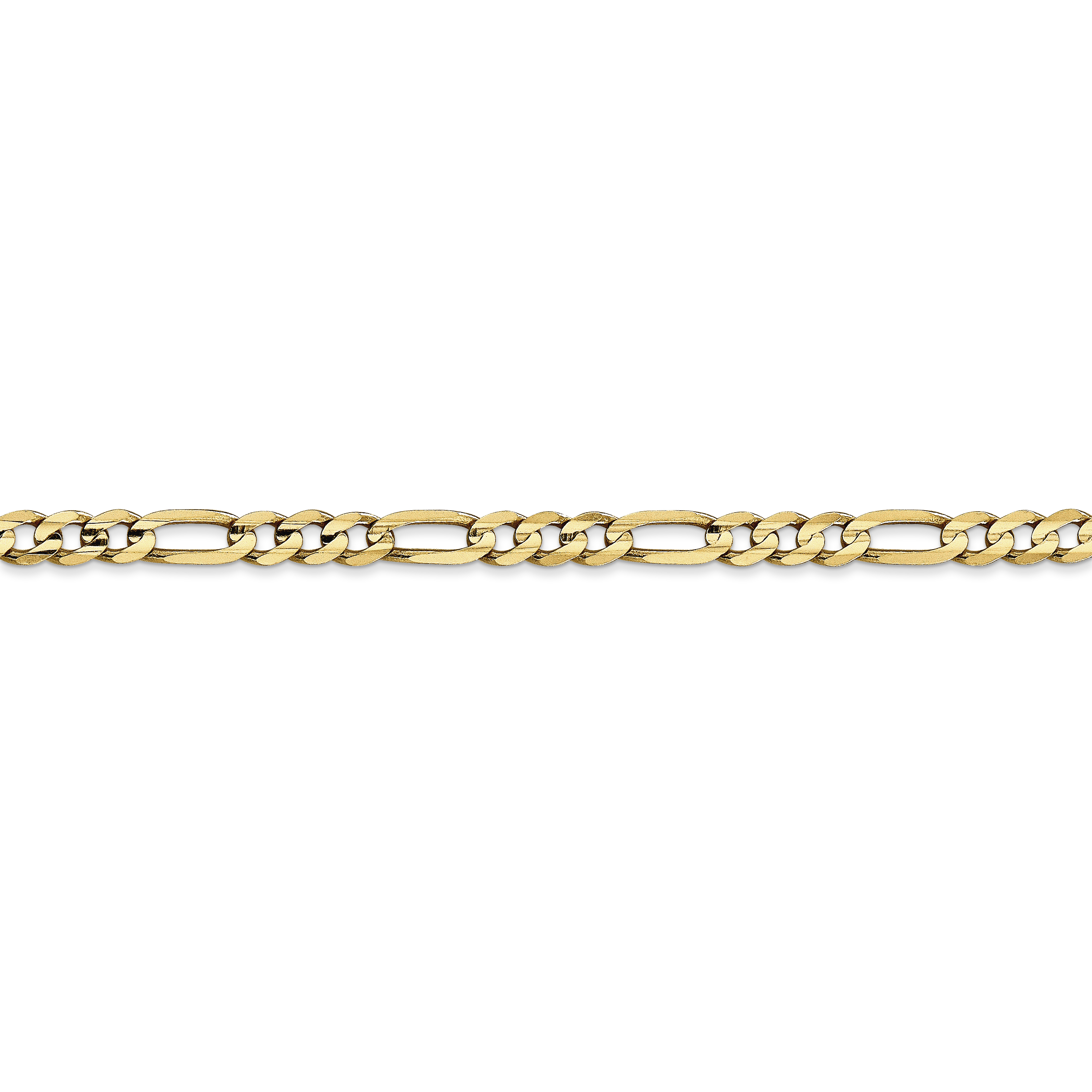14K Yellow Gold 4mm Concave Open Figaro Chain - image 3 de 5