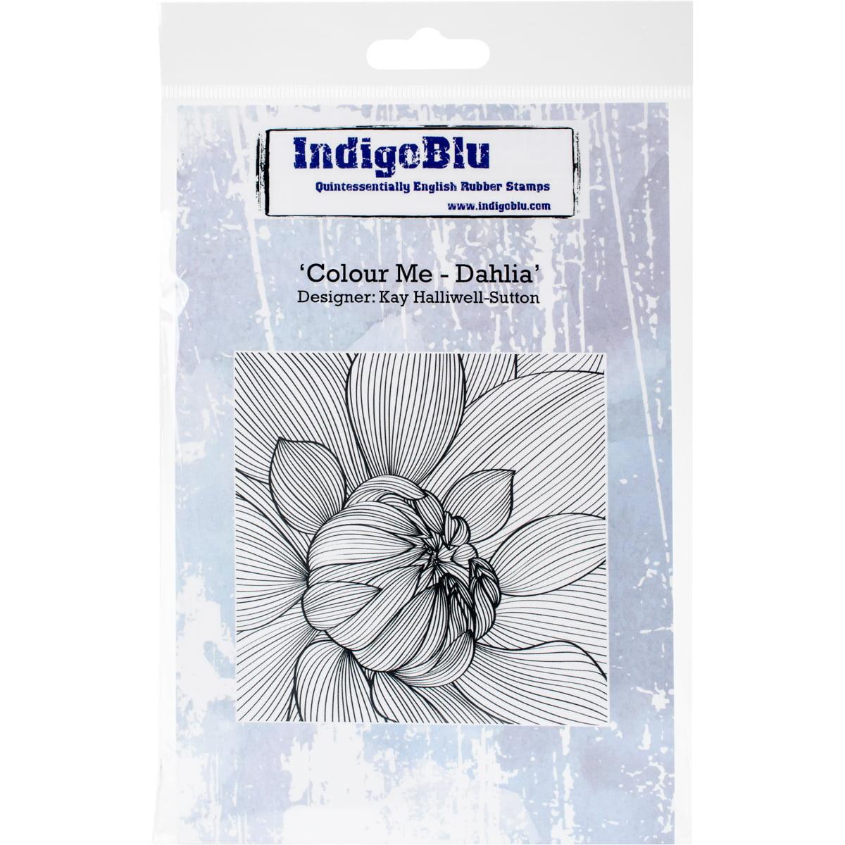 "IndigoBlu Cling Mounted Stamp 5""X4""-Colour Me Dahlia"