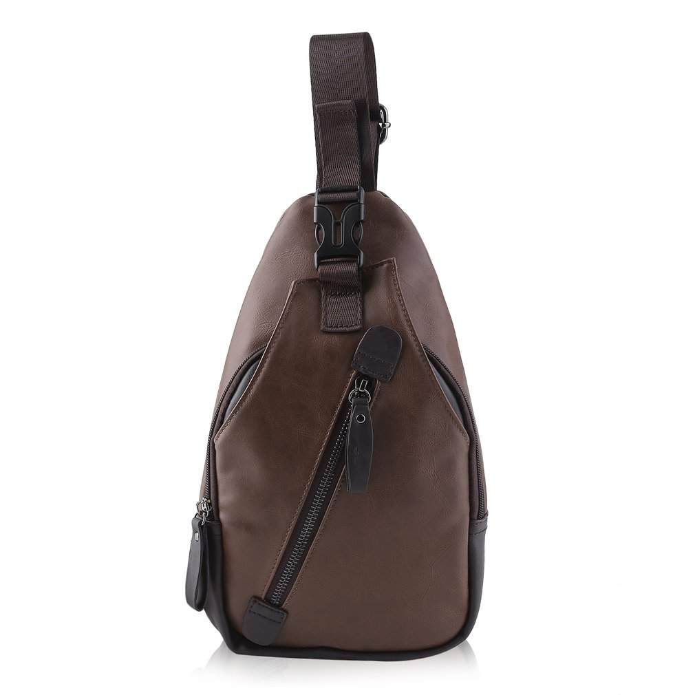 Men PU Leather Chest Sling Bag Shoulder Crossbody Satchel Messenger Bag