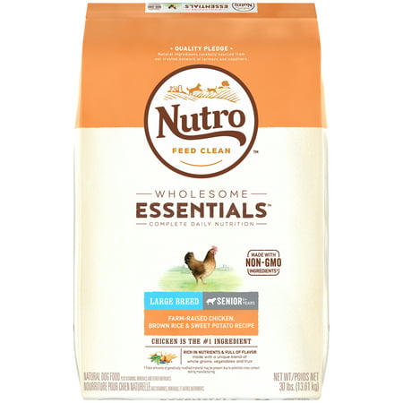 NUTRO WHOLESOME ESSENTIALS Farm-Raised Chicken, Brown Rice & Sweet Potato Recipe Large Breed Senior Dry Dog Food 30 Pounds