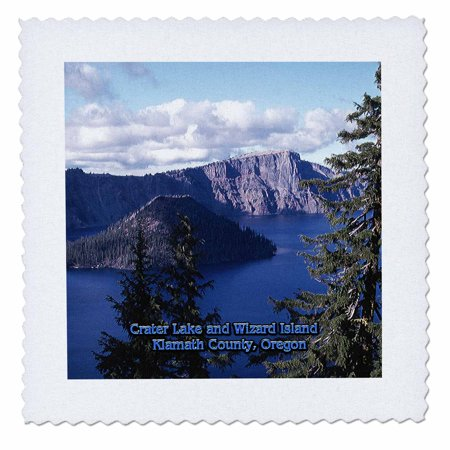 Klamath Lake Algae (3dRose Crater Lake and Wizard Island in Summer, Klamath County, Oregon - Quilt Square, 12 by 12-inch)