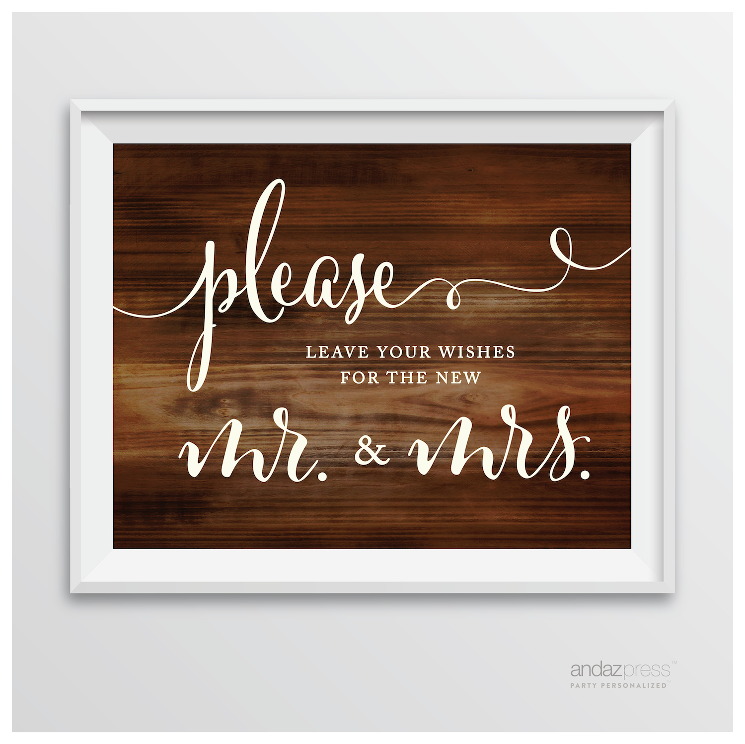Leave Your Wishes For New Mr. & Mrs. Rustic Wood Wedding Party Signs