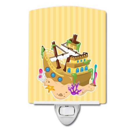 Beach Pirate Ship Ceramic Night Light