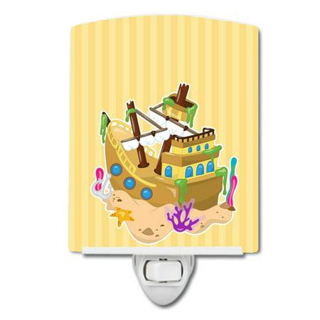Beach Pirate Ship Ceramic Night Light - Pirate Lamps