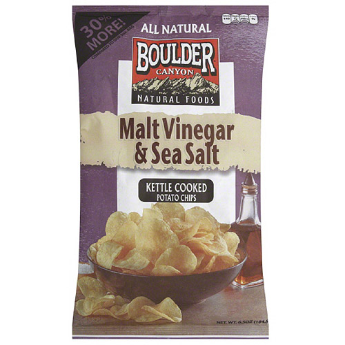 Boulder Canyon Natural Foods Malt Vinegar & Sea Salt Kettle Cooked Potato Chips, 6.5 oz... by